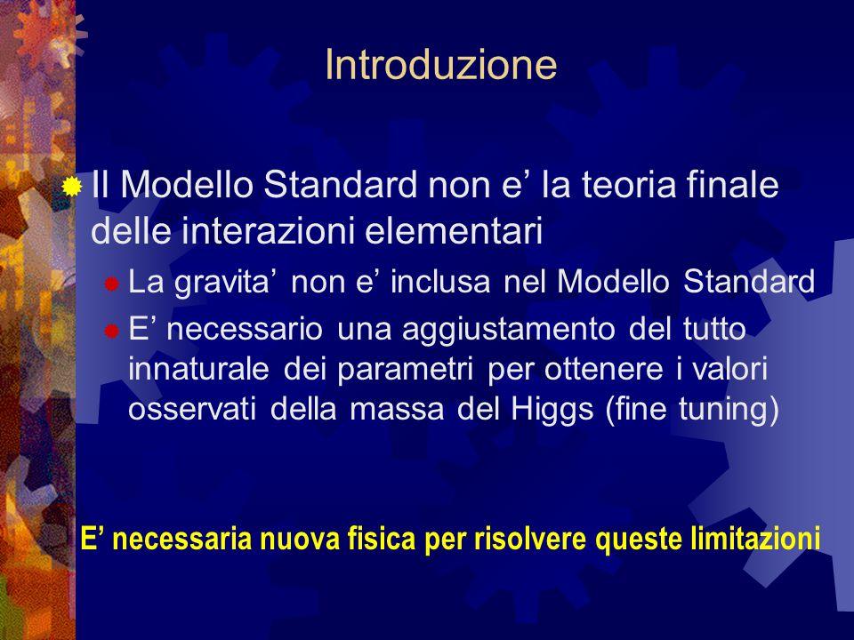 Introduzione  Il Modello Standard non e' la teoria finale delle interazioni elementari  La gravita' non e' inclusa nel Modello Standard  E' necessario una aggiustamento del tutto innaturale dei parametri per ottenere i valori osservati della massa del Higgs (fine tuning) E' necessaria nuova fisica per risolvere queste limitazioni