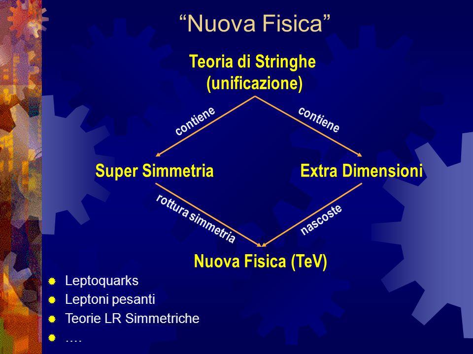 Teoria di Stringhe (unificazione) Super SimmetriaExtra Dimensioni Nuova Fisica (TeV) rottura simmetria nascoste  Leptoquarks  Leptoni pesanti  Teorie LR Simmetriche  ….