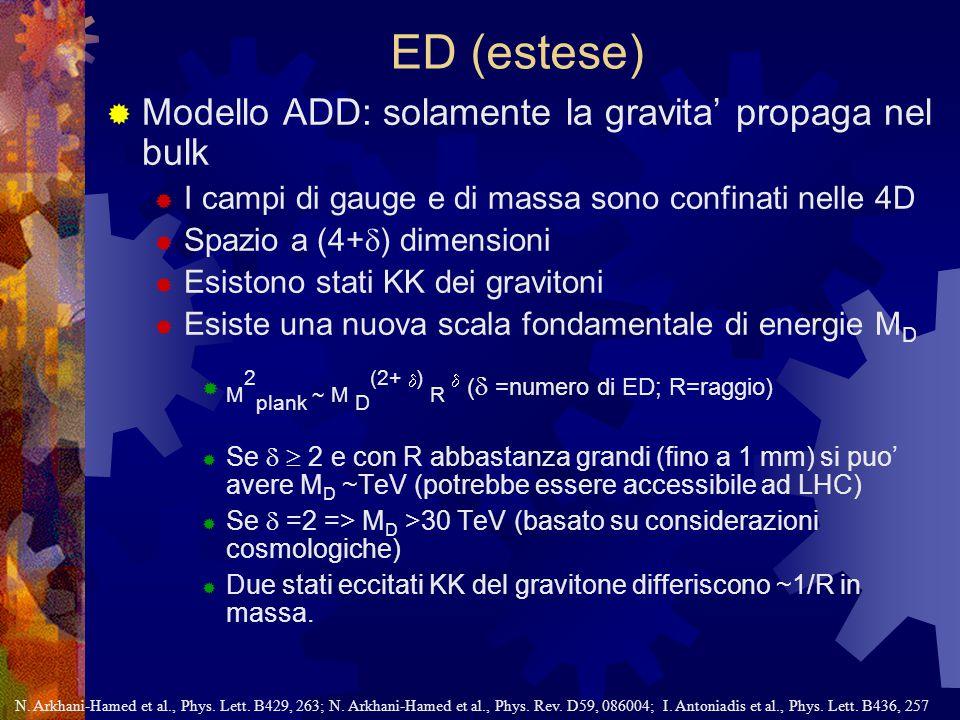 ED (estese)  Modello ADD: solamente la gravita' propaga nel bulk  I campi di gauge e di massa sono confinati nelle 4D  Spazio a (4+  ) dimensioni  Esistono stati KK dei gravitoni  Esiste una nuova scala fondamentale di energie M D  M 2 plank ~ M D (2+  ) R  (  =numero di ED; R=raggio)  Se   2 e con R abbastanza grandi (fino a 1 mm) si puo' avere M D ~TeV (potrebbe essere accessibile ad LHC)  Se  =2 => M D >30 TeV (basato su considerazioni cosmologiche)  Due stati eccitati KK del gravitone differiscono ~1/R in massa.