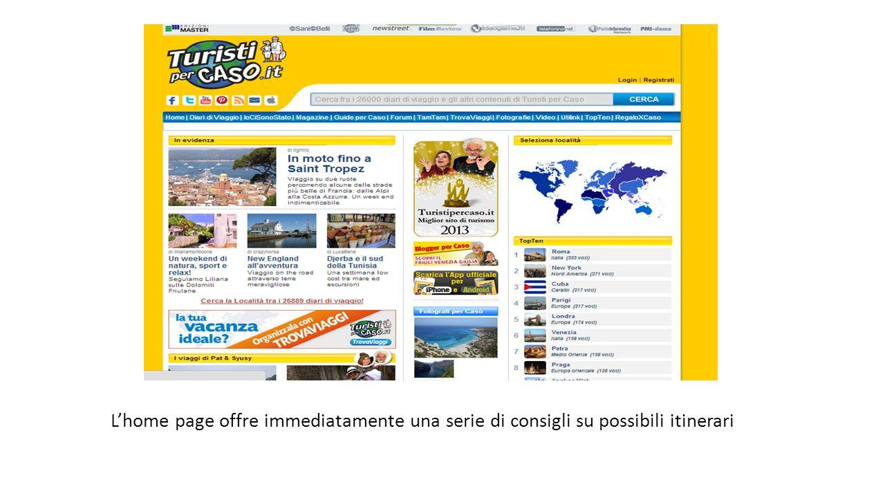 L'home page offre immediatamente una serie di consigli su possibili itinerari