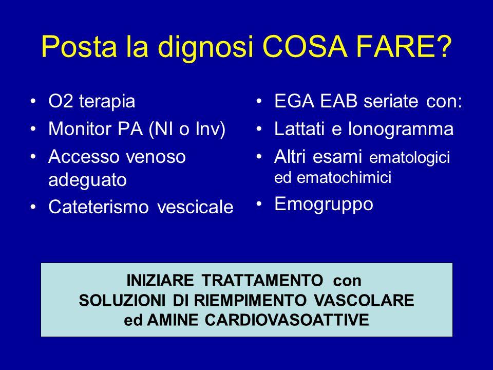Posta la dignosi COSA FARE? O2 terapia Monitor PA (NI o Inv) Accesso venoso adeguato Cateterismo vescicale EGA EAB seriate con: Lattati e Ionogramma A