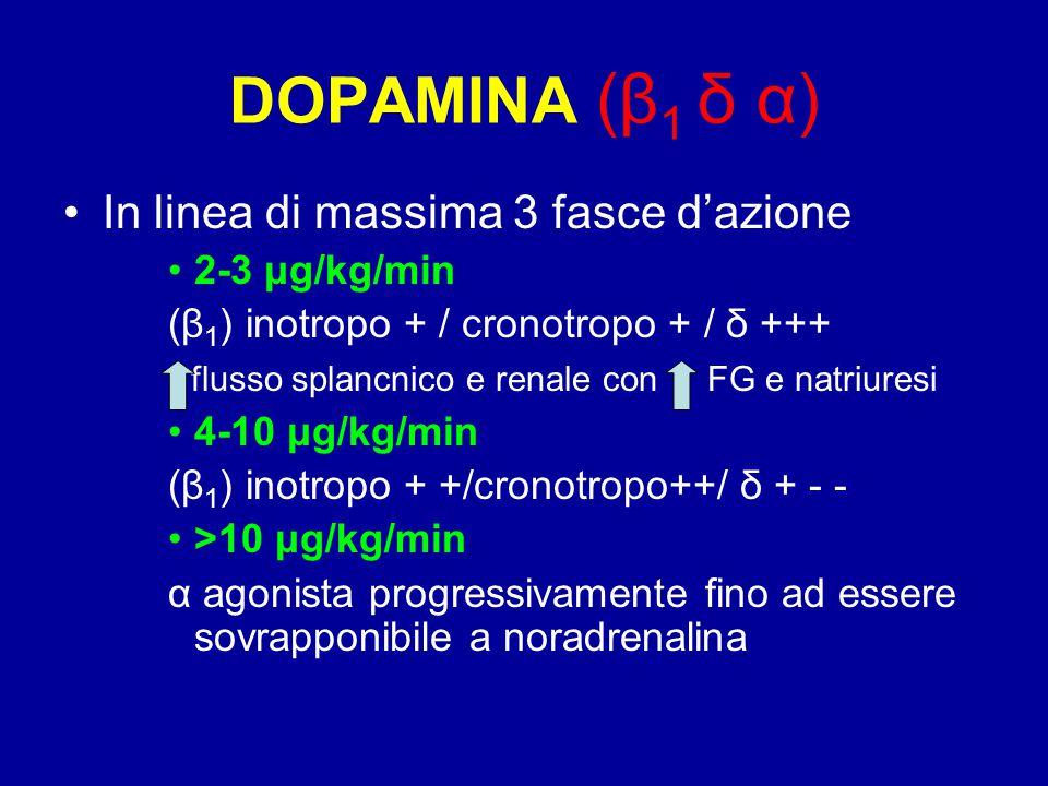DOPAMINA (β 1 δ α) In linea di massima 3 fasce d'azione 2-3 μg/kg/min (β 1 ) inotropo + / cronotropo + / δ +++ flusso splancnico e renale con FG e nat