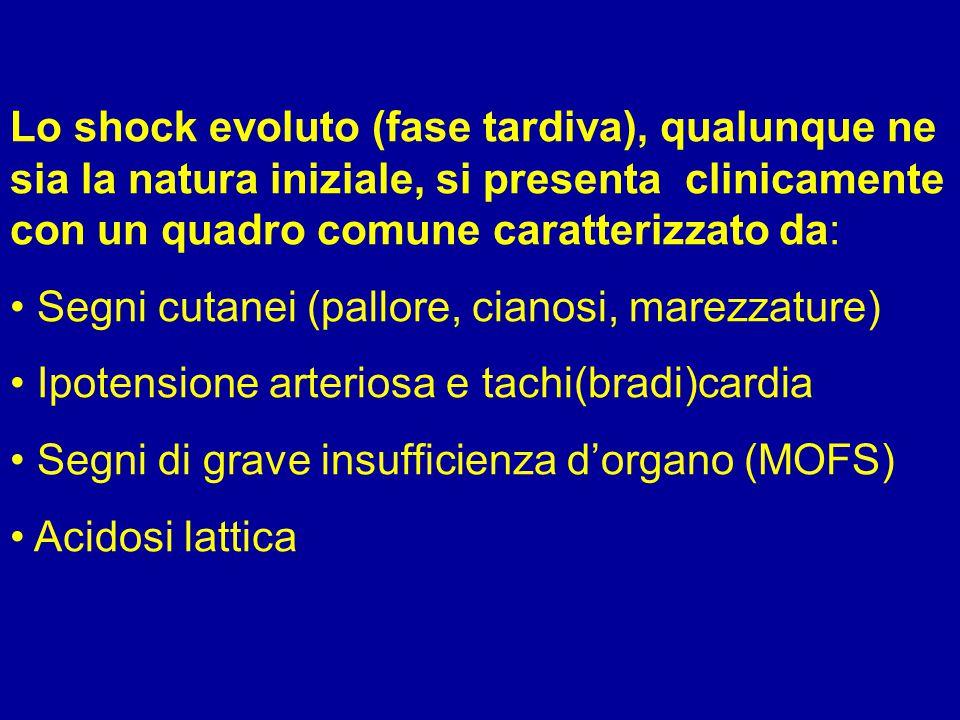 Clinica dello SHOCK SEGNI CARDIOCIRCOLATORI: ipotensione arteriosa, tachicardia; possibilità di insufficienza miocardica secondaria SEGNI NEUROLOGICI: confusione, obnubilamento, agitazione-delirio (sepsi), segni focali Causa: inadeguato apporto di O2 a cellule cerebrali, azione diretta di tossici (sepsi )