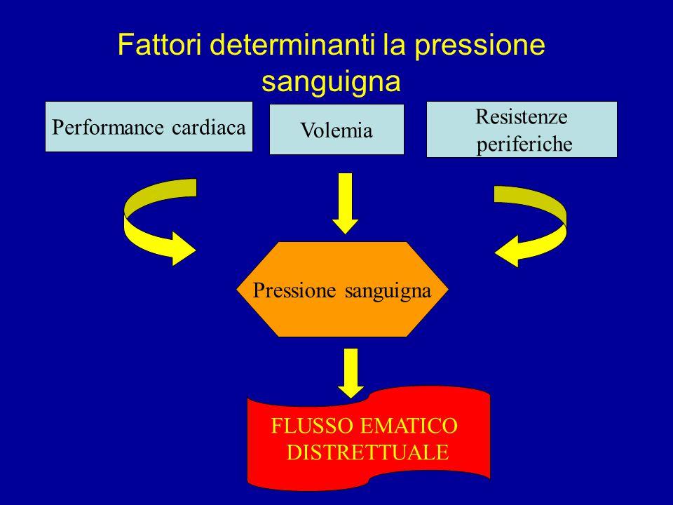 Fattori determinanti la pressione sanguigna Performance cardiaca Volemia Resistenze periferiche Pressione sanguigna FLUSSO EMATICO DISTRETTUALE