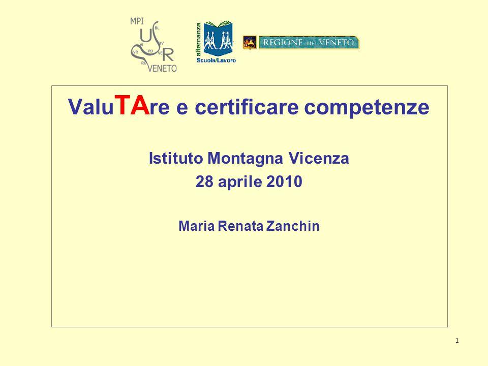 1 Valu TA re e certificare competenze Istituto Montagna Vicenza 28 aprile 2010 Maria Renata Zanchin