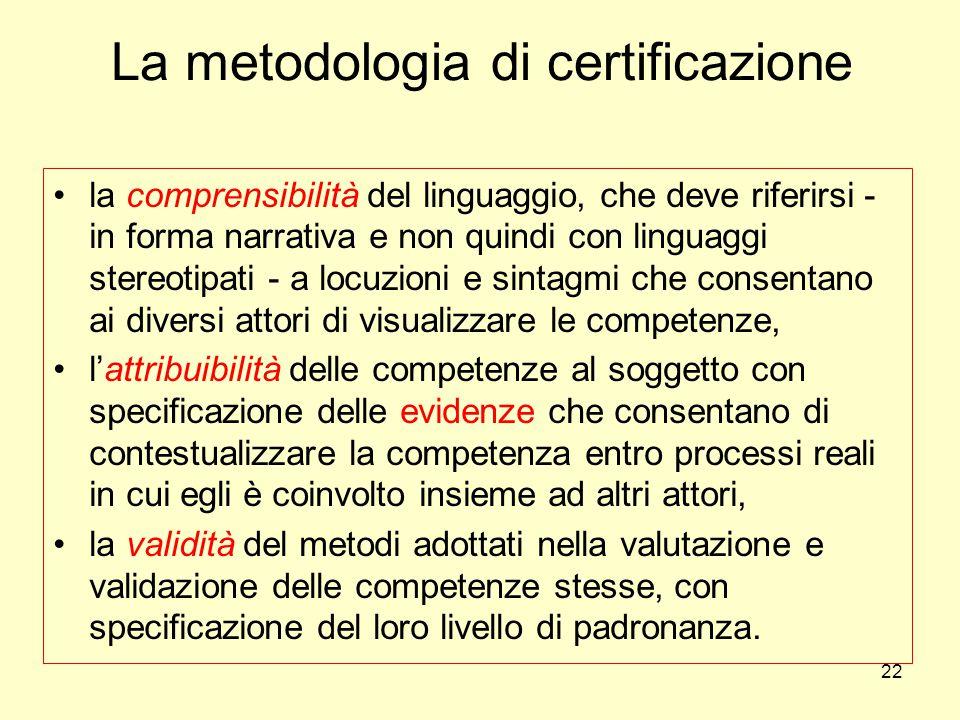 La metodologia di certificazione la comprensibilità del linguaggio, che deve riferirsi - in forma narrativa e non quindi con linguaggi stereotipati -