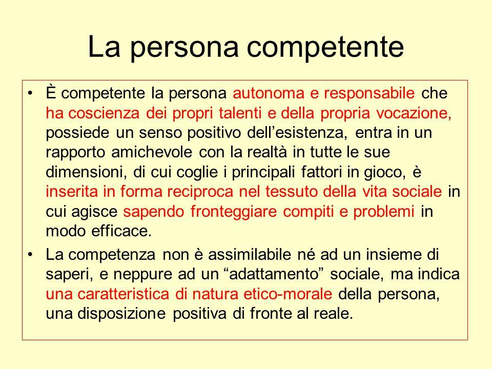 La persona competente È competente la persona autonoma e responsabile che ha coscienza dei propri talenti e della propria vocazione, possiede un senso
