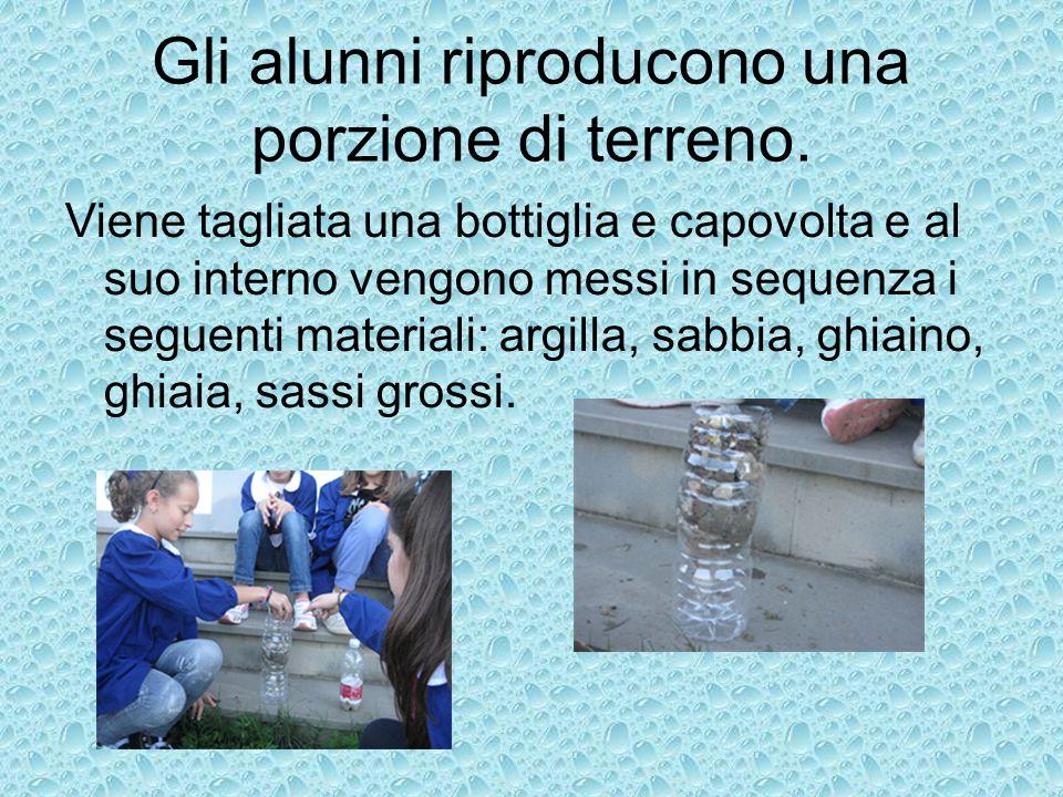 Gli alunni riproducono una porzione di terreno. Viene tagliata una bottiglia e capovolta e al suo interno vengono messi in sequenza i seguenti materia