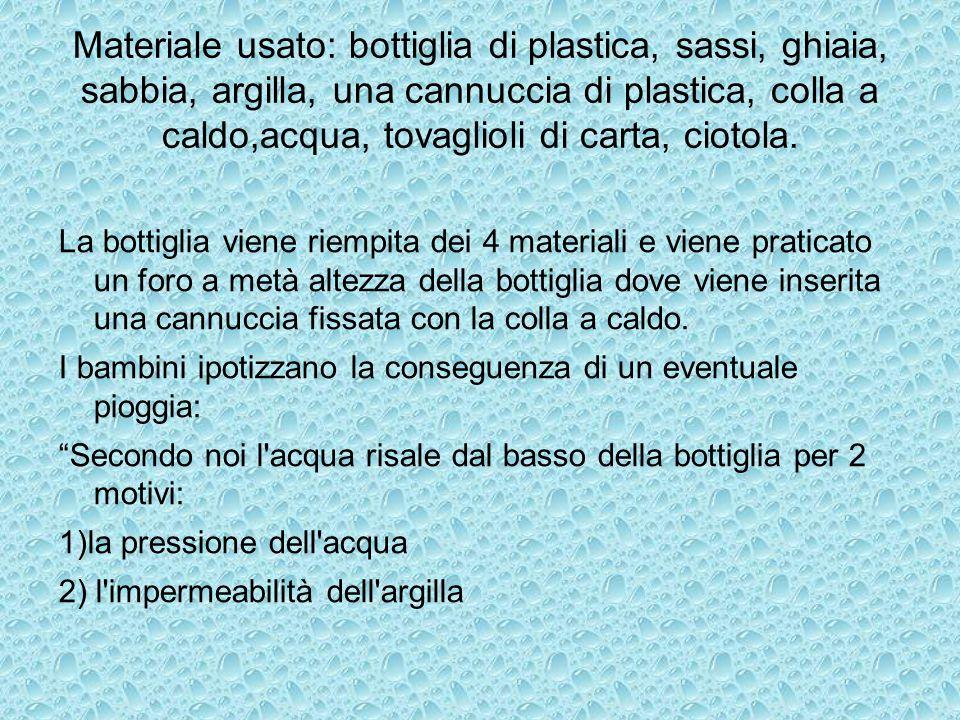 Materiale usato: bottiglia di plastica, sassi, ghiaia, sabbia, argilla, una cannuccia di plastica, colla a caldo,acqua, tovaglioli di carta, ciotola.