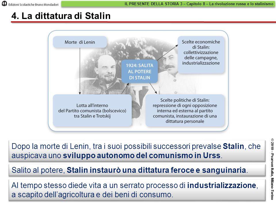Dopo la morte di Lenin, tra i suoi possibili successori prevalse Stalin, che auspicava uno sviluppo autonomo del comunismo in Urss. 4. La dittatura di