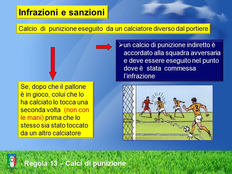 Regola 13 – Calci di punizione Calcio di punizione eseguito da un calciatore diverso dal portiere Se, dopo che il pallone è in gioco, colui che lo ha