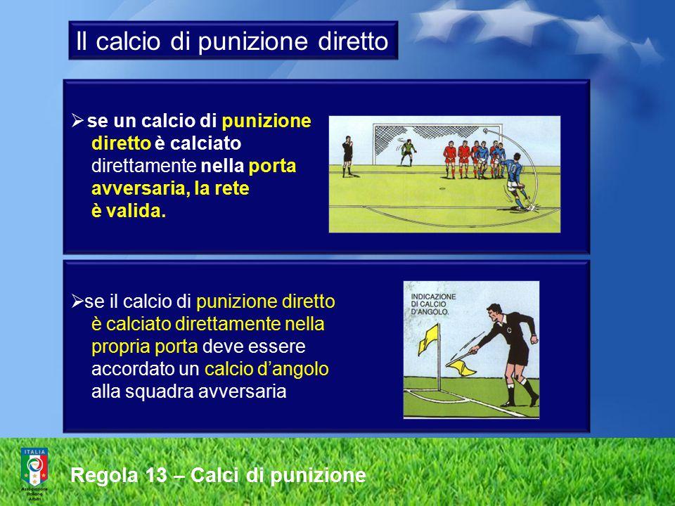 Regola 13 – Calci di punizione  se un calcio di punizione diretto è calciato direttamente nella porta avversaria, la rete è valida.  se il calcio di