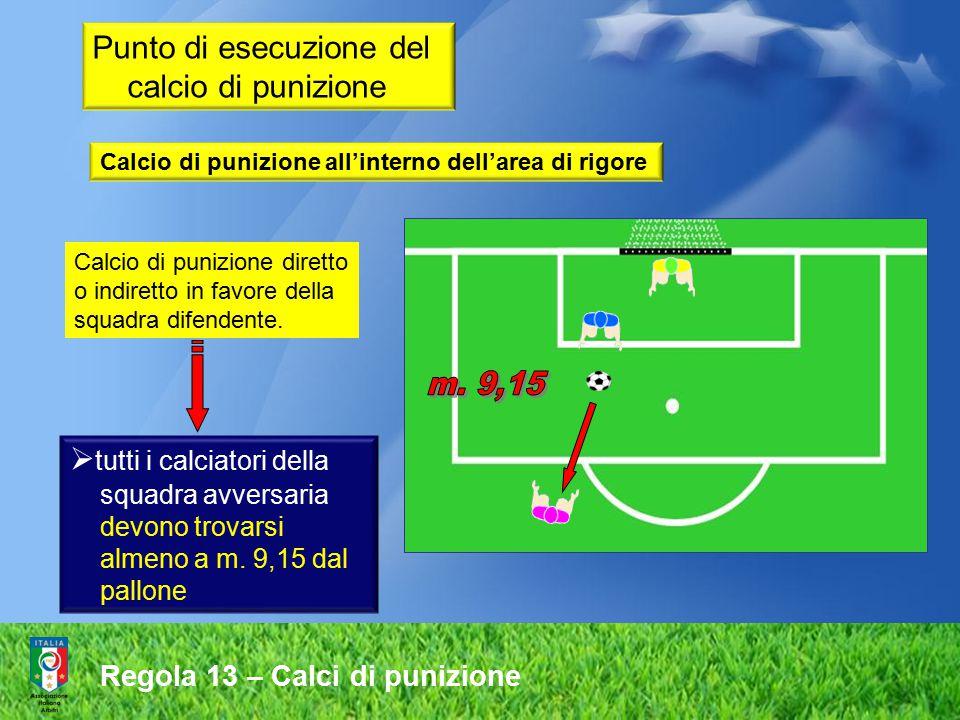 Regola 13 – Calci di punizione Calcio di punizione diretto o indiretto in favore della squadra difendente.  tutti i calciatori della squadra avversar