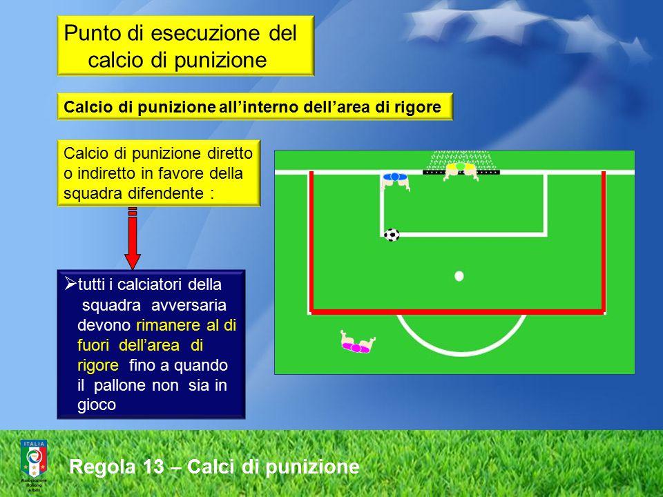 Regola 13 – Calci di punizione Calcio di punizione diretto o indiretto in favore della squadra difendente :  tutti i calciatori della squadra avversa