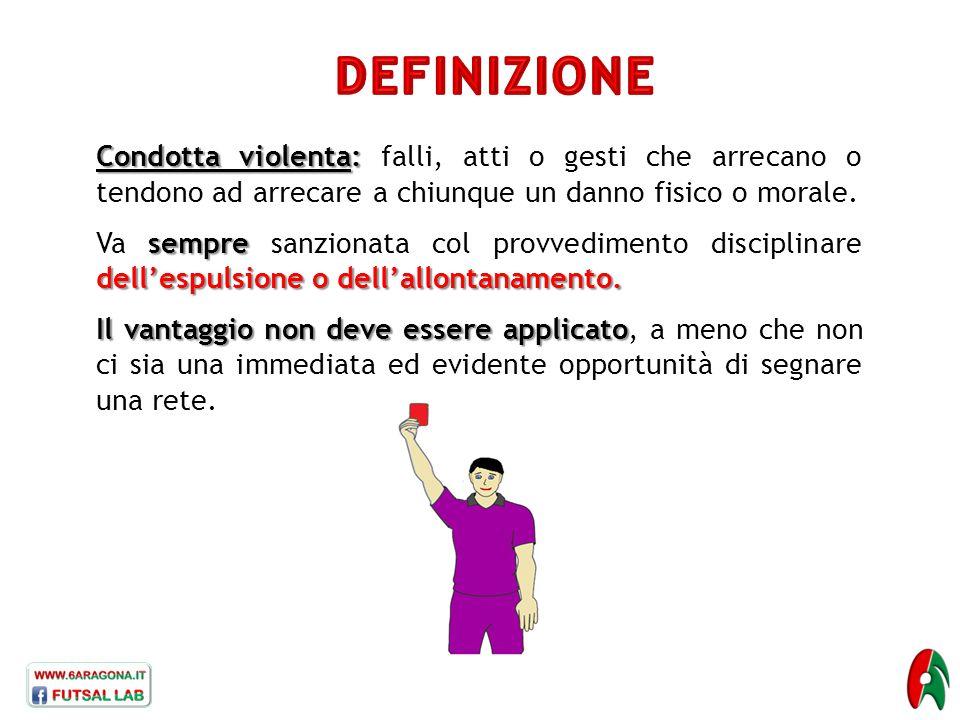 Condotta violenta: Condotta violenta: falli, atti o gesti che arrecano o tendono ad arrecare a chiunque un danno fisico o morale. sempre dell'espulsio
