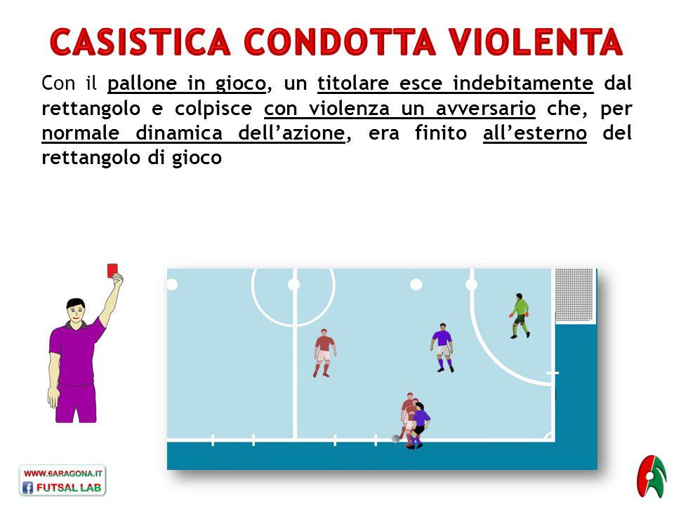 Con il pallone in gioco, un titolare esce indebitamente dal rettangolo e colpisce con violenza un avversario che, per normale dinamica dell'azione, er