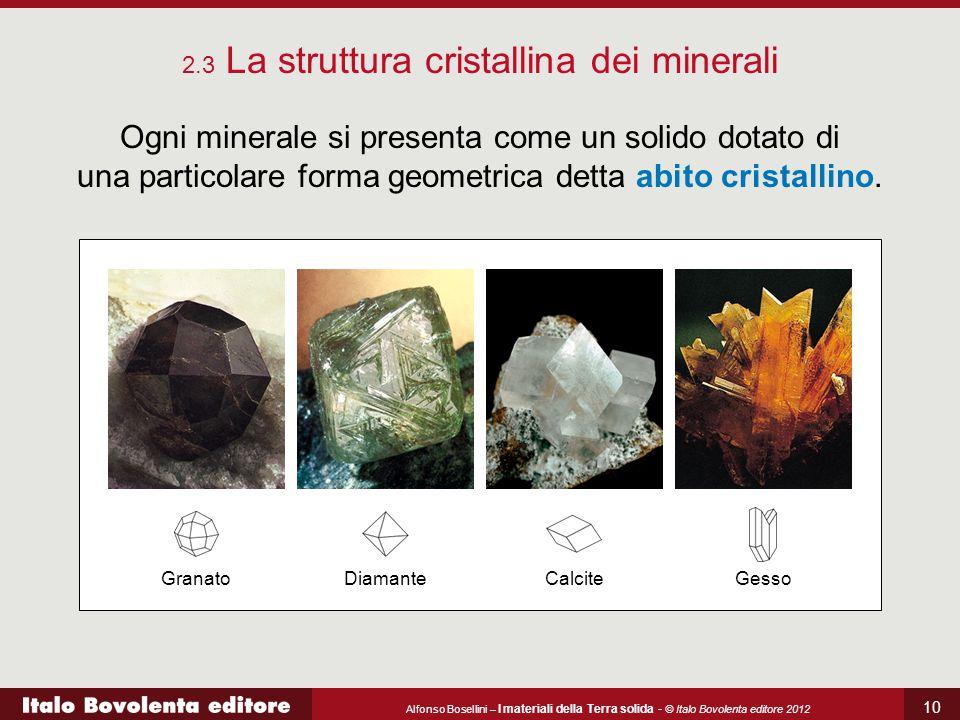 Alfonso Bosellini – I materiali della Terra solida - © Italo Bovolenta editore 2012 10 Ogni minerale si presenta come un solido dotato di una particol