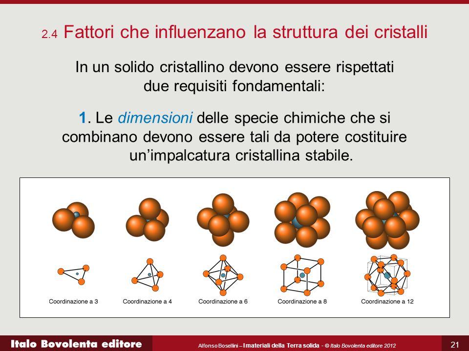 Alfonso Bosellini – I materiali della Terra solida - © Italo Bovolenta editore 2012 21 2.4 Fattori che influenzano la struttura dei cristalli In un so