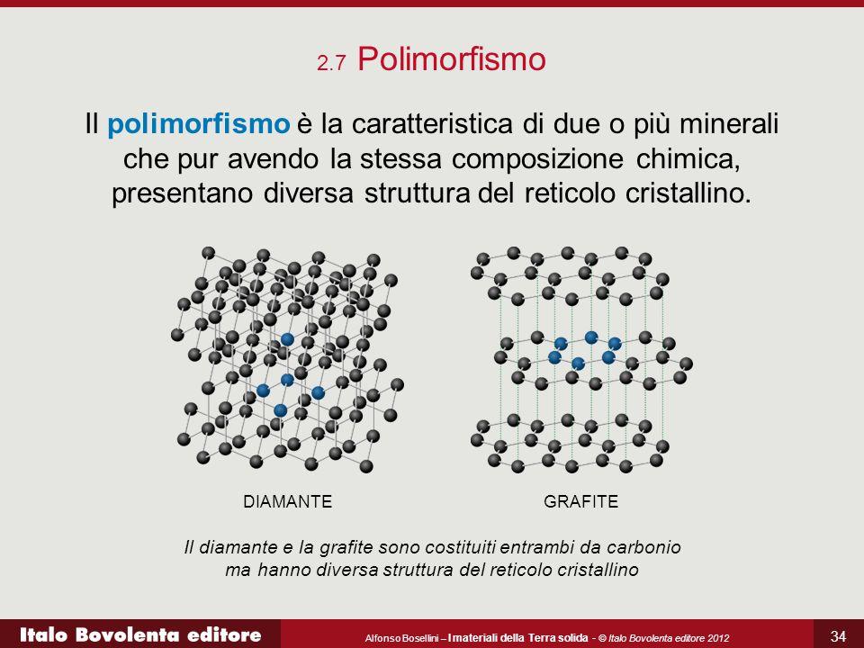 Alfonso Bosellini – I materiali della Terra solida - © Italo Bovolenta editore 2012 34 2.7 Polimorfismo Il polimorfismo è la caratteristica di due o p