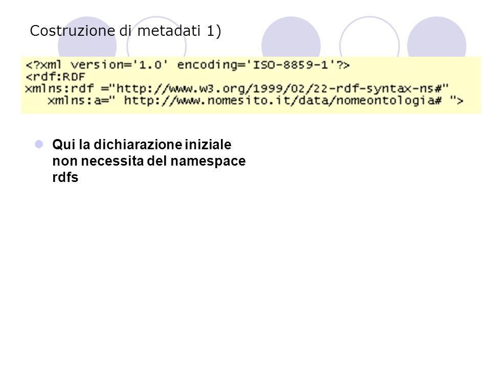 Costruzione di metadati 1) Qui la dichiarazione iniziale non necessita del namespace rdfs