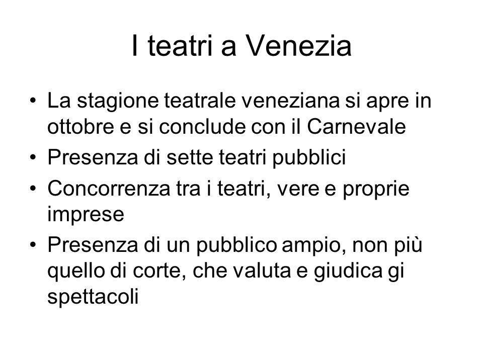 I teatri a Venezia La stagione teatrale veneziana si apre in ottobre e si conclude con il Carnevale Presenza di sette teatri pubblici Concorrenza tra