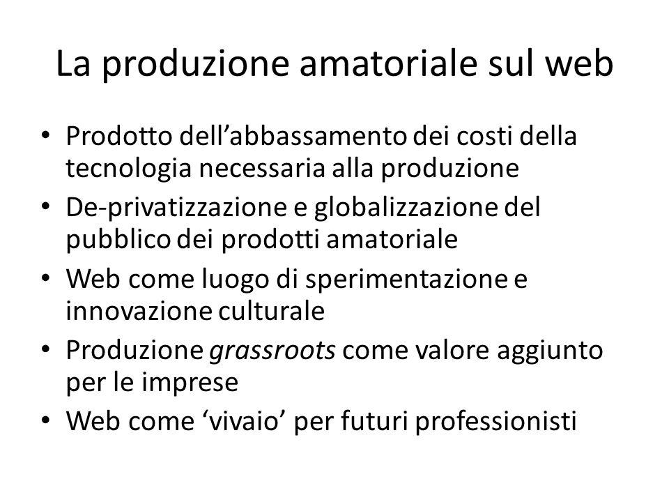 La produzione amatoriale sul web Prodotto dell'abbassamento dei costi della tecnologia necessaria alla produzione De-privatizzazione e globalizzazione