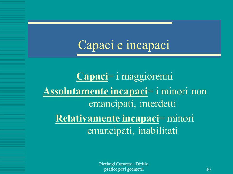 Pierluigi Capuzzo - Diritto pratico per i geometri 9 Il soggetto del diritto E' la persona. Puo' essere fisica o giuridica. Ha capacità giuridica (tut