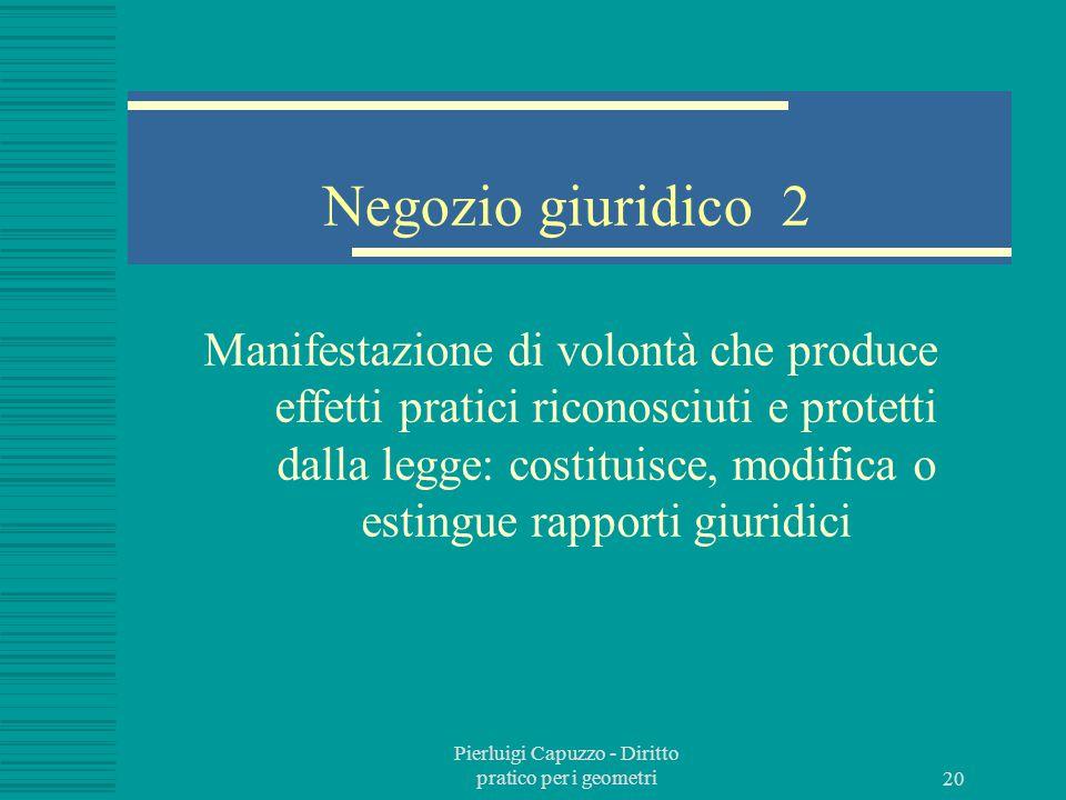 Pierluigi Capuzzo - Diritto pratico per i geometri 19 Negozio giuridico 1 L'atto giuridico che si manifesta in dichiarazioni o manifestazioni di volontà dà luogo al negozio giuridico