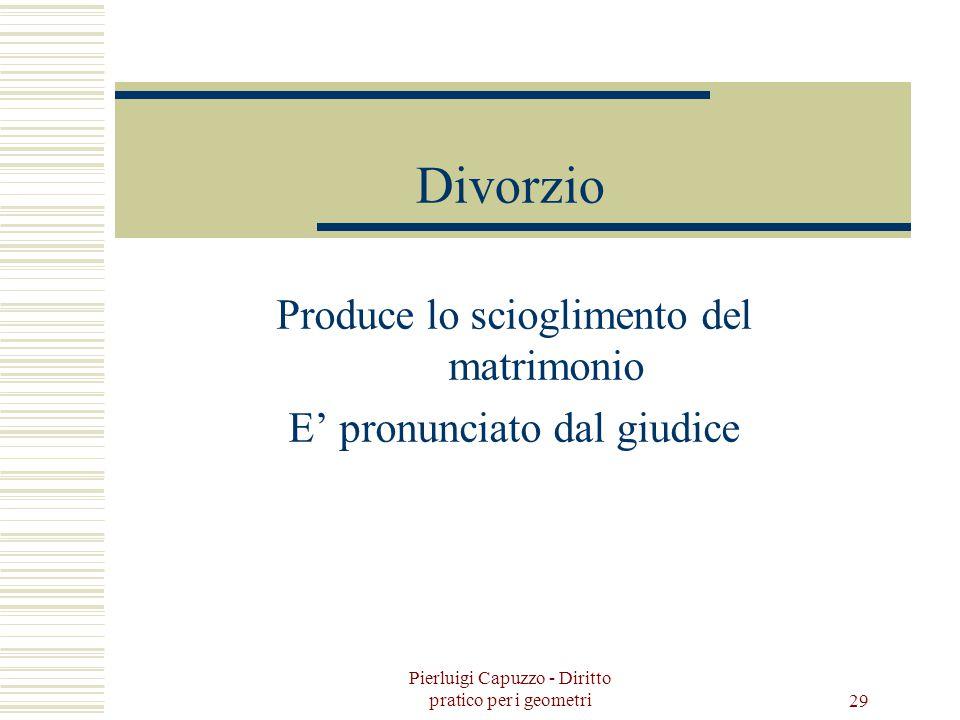 Pierluigi Capuzzo - Diritto pratico per i geometri 28 Separazione Di fatto Consensuale Giudiziale