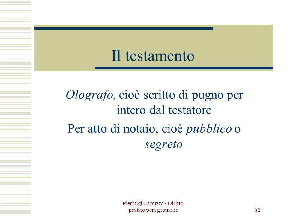 Pierluigi Capuzzo - Diritto pratico per i geometri 31 Successioni Legittima, cioè secondo le determinazioni di legge nei confronti degli eredi. Testam