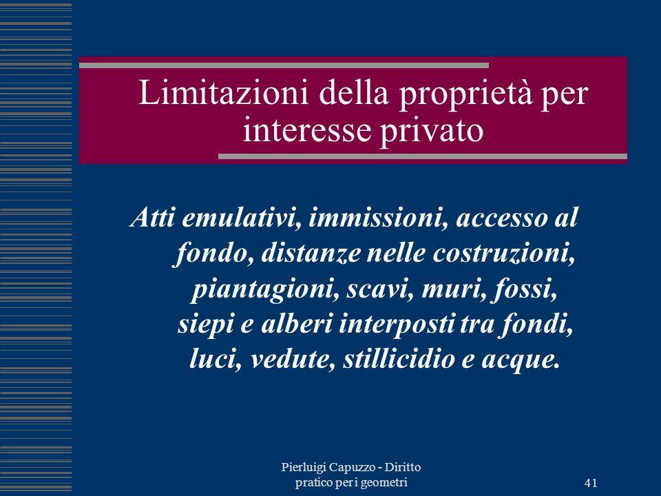 Pierluigi Capuzzo - Diritto pratico per i geometri 40 Limitazioni della proprietà Regolamenti edilizi Piani Regolatori Generali Per interesse privato: i rapporti di vicinato