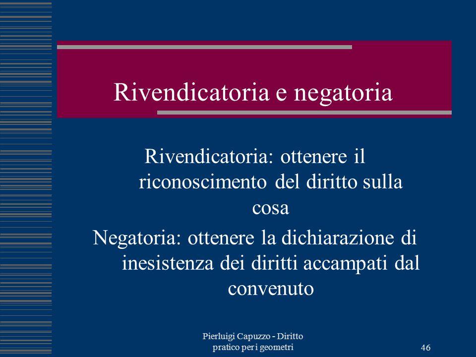 Pierluigi Capuzzo - Diritto pratico per i geometri 45 Azioni di tutela della proprietà Le azioni petitorie: rivendicatoria e negatoria, di regolamento