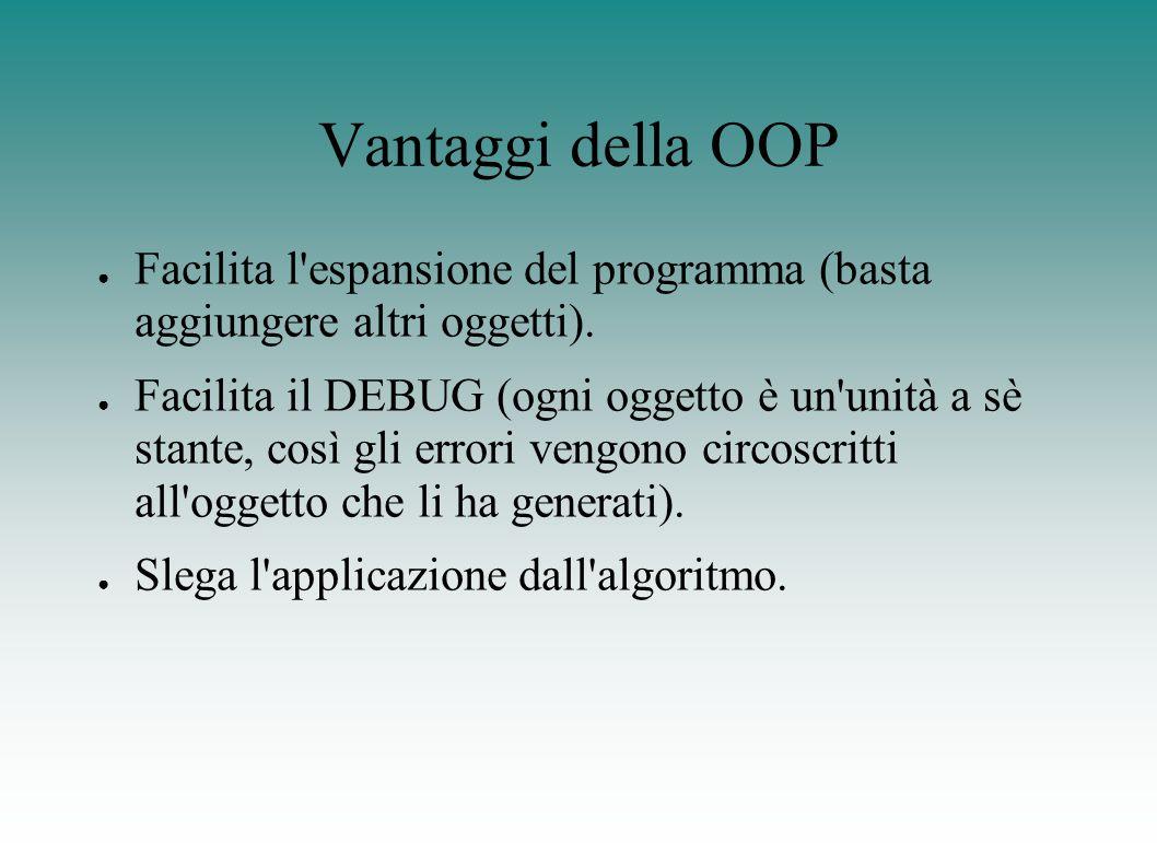 Vantaggi della OOP ● Facilita l espansione del programma (basta aggiungere altri oggetti).