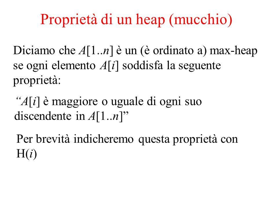 A[i] è maggiore o uguale di ogni suo discendente in A[1..n] Proprietà di un heap (mucchio) Diciamo che A[1..n] è un (è ordinato a) max-heap se ogni elemento A[i] soddisfa la seguente proprietà: Per brevità indicheremo questa proprietà con H(i)