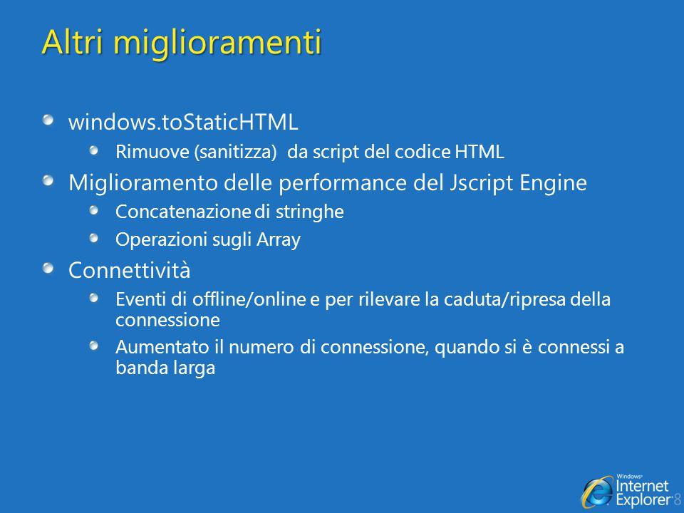 Link Utili Novità in Internet Explorer 8 http://msdn.microsoft.com/en-us/library/cc288472(VS.85).aspx DOM Storage http://msdn.microsoft.com/en-us/library/cc197062(VS.85).aspx AJAX Navigation http://code.msdn.microsoft.com/ie8b2ajaxhol http://msdn.microsoft.com/en-us/library/cc891506(VS.85).aspx Supporto JSON http://msdn.microsoft.com/en-us/library/cc836459(VS.85).aspx http://msdn.microsoft.com/en-us/library/cc836466(VS.85).aspx http://blogs.msdn.com/ie/archive/2008/09/10/native-json-in- ie8.aspx http://wiki.ecmascript.org/doku.php?id=es3.1:es3.1_proposal_ working_draft