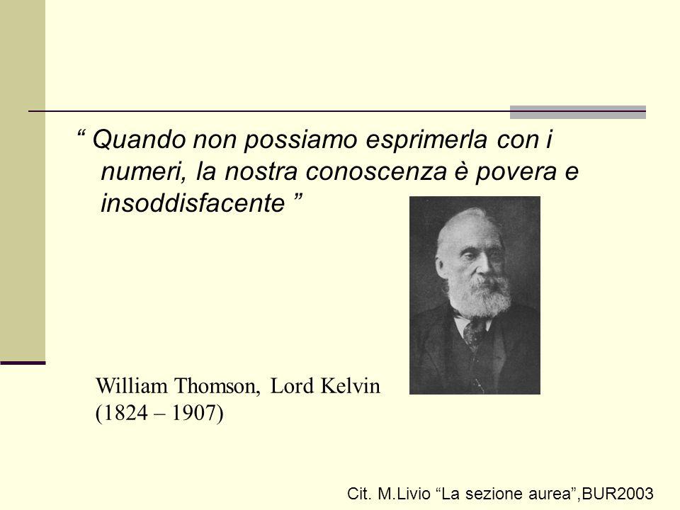 """"""" Quando non possiamo esprimerla con i numeri, la nostra conoscenza è povera e insoddisfacente """" William Thomson, Lord Kelvin (1824 – 1907) Cit. M.Liv"""