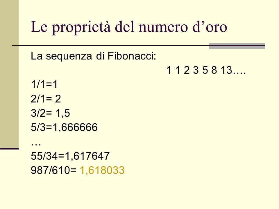 Le proprietà del numero d'oro La sequenza di Fibonacci: 1 1 2 3 5 8 13…. 1/1=1 2/1= 2 3/2= 1,5 5/3=1,666666 … 55/34=1,617647 987/610= 1,618033