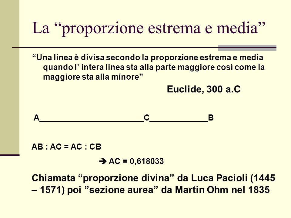 """La """"proporzione estrema e media"""" """"Una linea è divisa secondo la proporzione estrema e media quando l' intera linea sta alla parte maggiore così come l"""