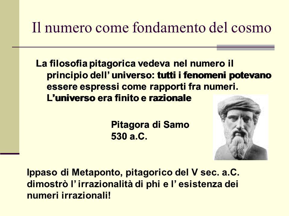 Il numero come fondamento del cosmo La filosofia pitagorica vedeva nel numero il principio dell' universo: tutti i fenomeni potevano essere espressi c