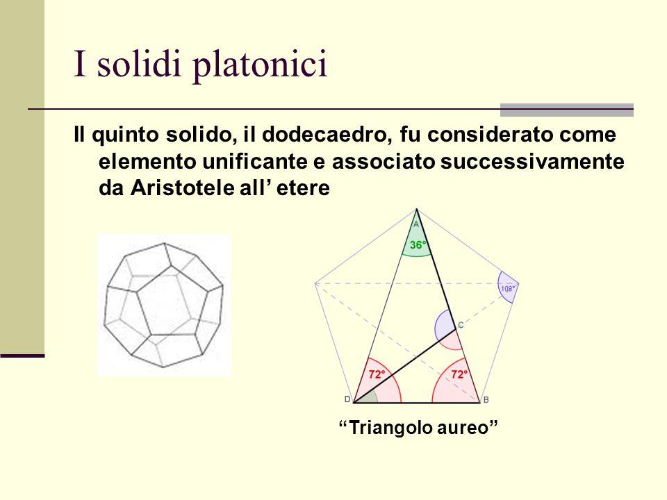 """I solidi platonici Il quinto solido, il dodecaedro, fu considerato come elemento unificante e associato successivamente da Aristotele all' etere """"Tria"""