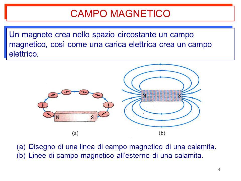 4 Un magnete crea nello spazio circostante un campo magnetico, così come una carica elettrica crea un campo elettrico. CAMPO MAGNETICO (a)Disegno di u