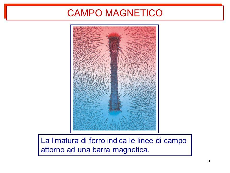 5 La limatura di ferro indica le linee di campo attorno ad una barra magnetica. CAMPO MAGNETICO