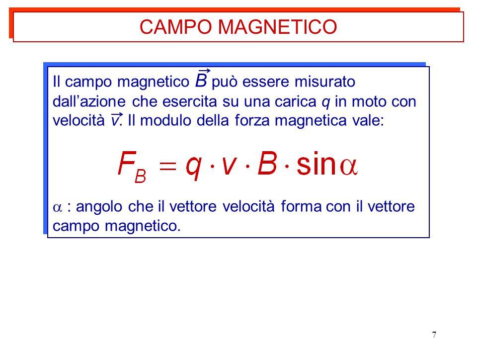 7 Il campo magnetico B può essere misurato dall'azione che esercita su una carica q in moto con velocità v. Il modulo della forza magnetica vale:  :