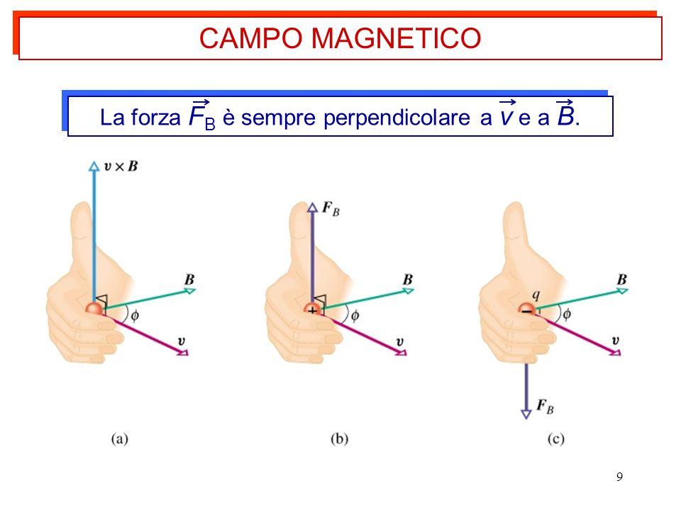 9 CAMPO MAGNETICO La forza F B è sempre perpendicolare a v e a B.