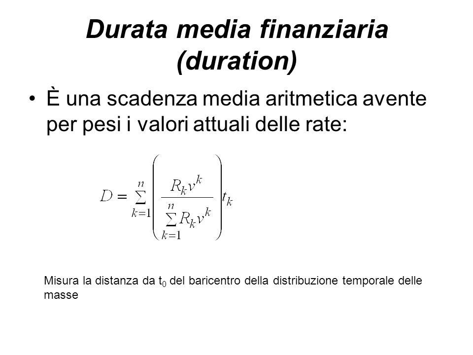 Durata media finanziaria (duration) È una scadenza media aritmetica avente per pesi i valori attuali delle rate: Misura la distanza da t 0 del baricen