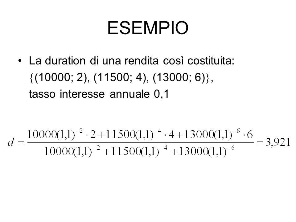 ESEMPIO La duration di una rendita così costituita:  (10000; 2), (11500; 4), (13000; 6) , tasso interesse annuale 0,1