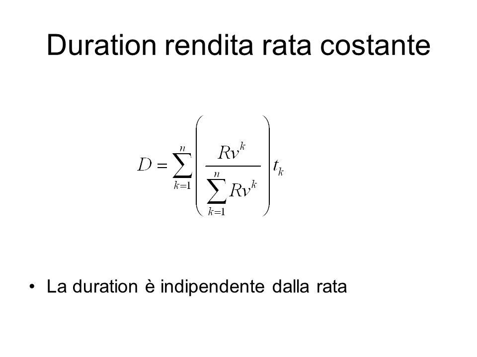 Duration rendita rata costante La duration è indipendente dalla rata