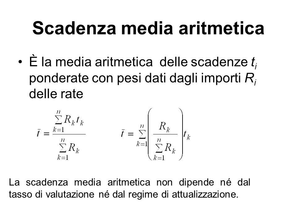 Scadenza media aritmetica È la media aritmetica delle scadenze t i ponderate con pesi dati dagli importi R i delle rate La scadenza media aritmetica n