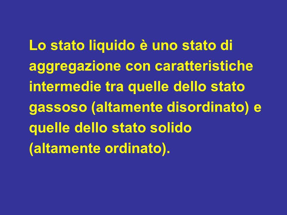 Lo stato liquido è uno stato di aggregazione con caratteristiche intermedie tra quelle dello stato gassoso (altamente disordinato) e quelle dello stat