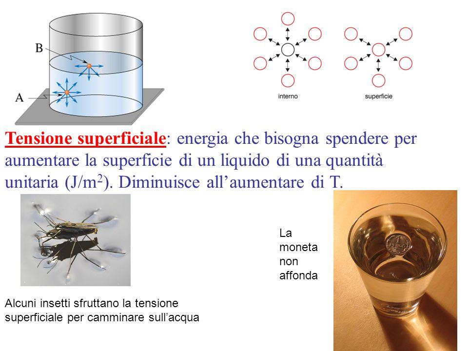 Tensione superficiale Tensione superficiale: energia che bisogna spendere per aumentare la superficie di un liquido di una quantità unitaria (J/m 2 ).